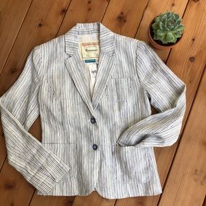 NWT Cartonnier Striped Linen Blazer